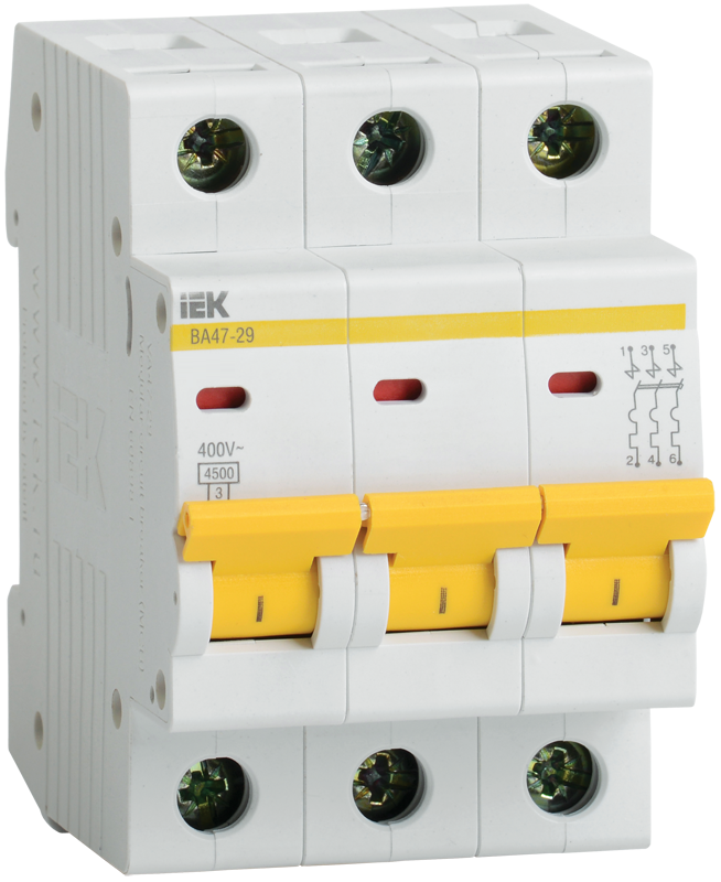 3P IEK ВА47-29, 40А, C, Выключатель автоматический фото