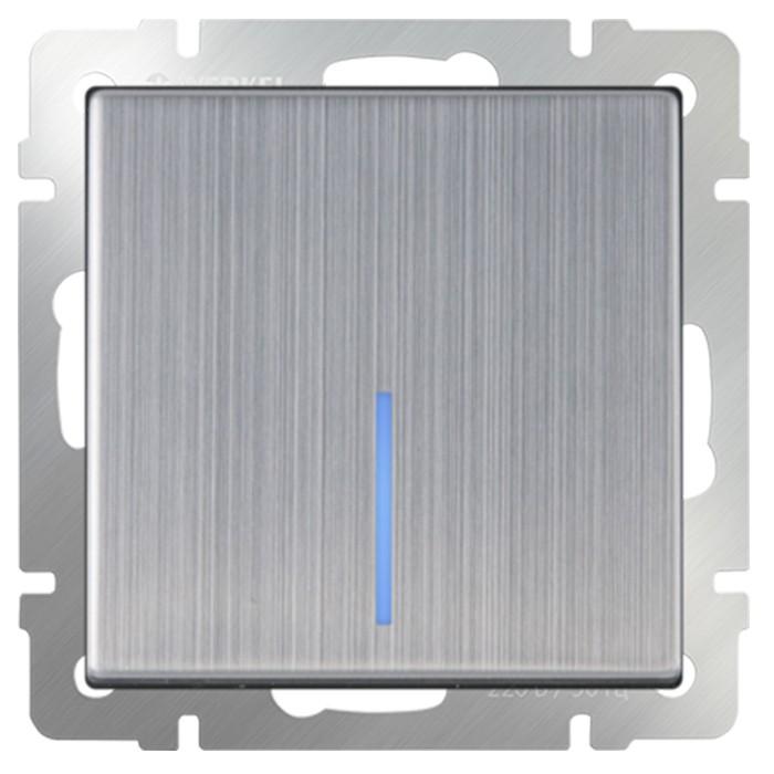 Выключатель встраиваемый Werkel WL02-SW-1G-2W-LED одноклавишный проходной с индикатором глянцевый никель фото