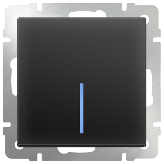 Выключатель встраиваемый Werkel WL08-SW-1G-LED одноклавишный с индикатором черный матовый фото