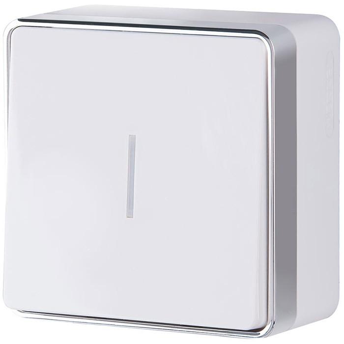 Выключатель накладной Werkel Gallant WL15-01-04 одноклавишный с индикатором белый фото