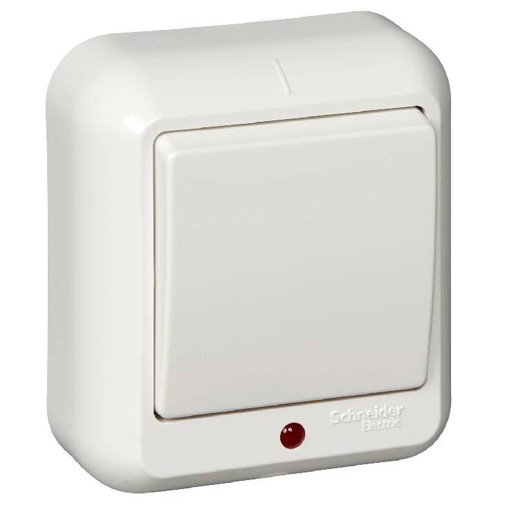 Выключатель накладной Schneider Electric Прима A16-046-B одноклавишный с индикатором белый фото