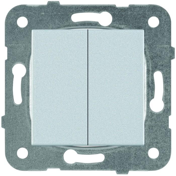 Выключатель встраиваемый Panasonic Karre Plus WKTT00092SL-RES двухклавишный серебро фото