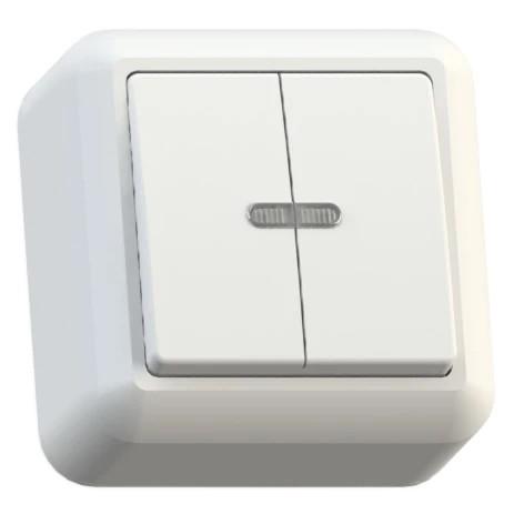 Выключатель накладной Кунцево-Электро Оптима А510-387 двухклавишный с подсветкой белый фото