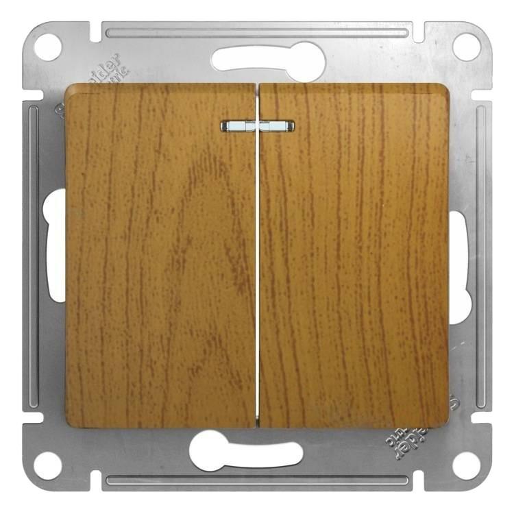 Выключатель встраиваемый Schneider Electric Glossa GSL000553 двухклавишный с индикатором дуб фото