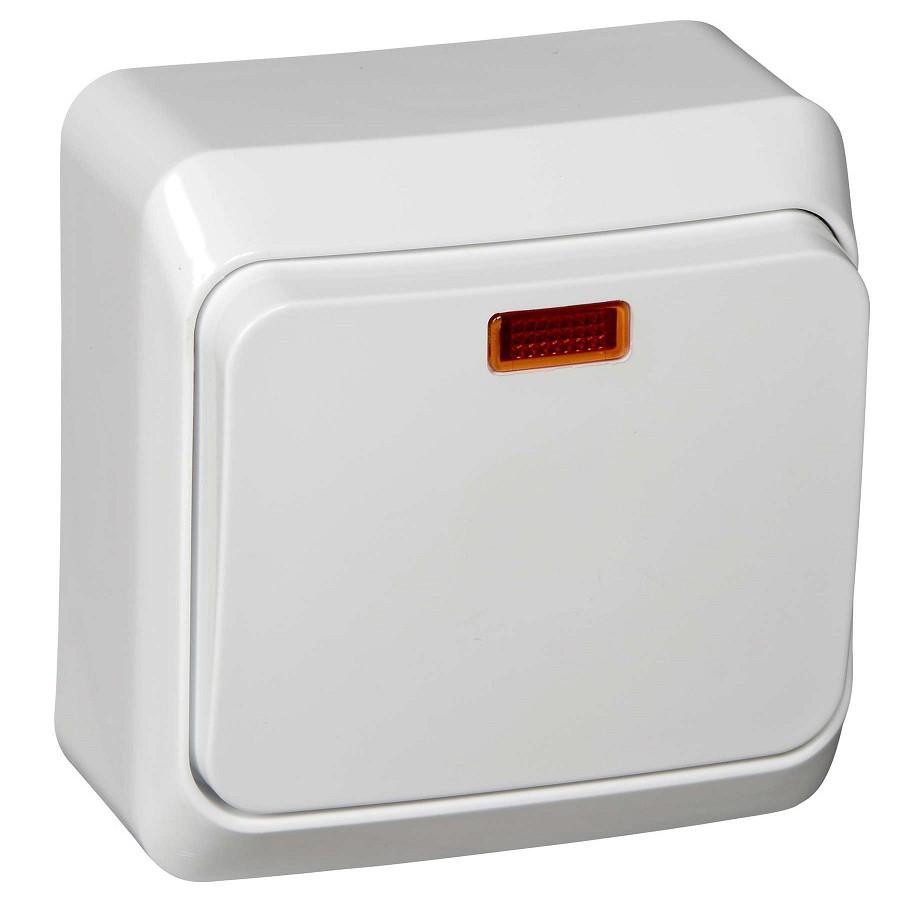 Выключатель накладной Schneider Electric Этюд BA10-005B одноклавишный с индикатором белый фото