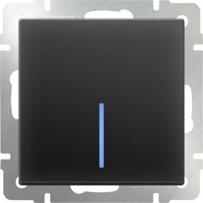 Выключатель встраиваемый Werkel WL08-SW-1G-2W-LED одноклавишный проходной с подсветкой черный матовый фото