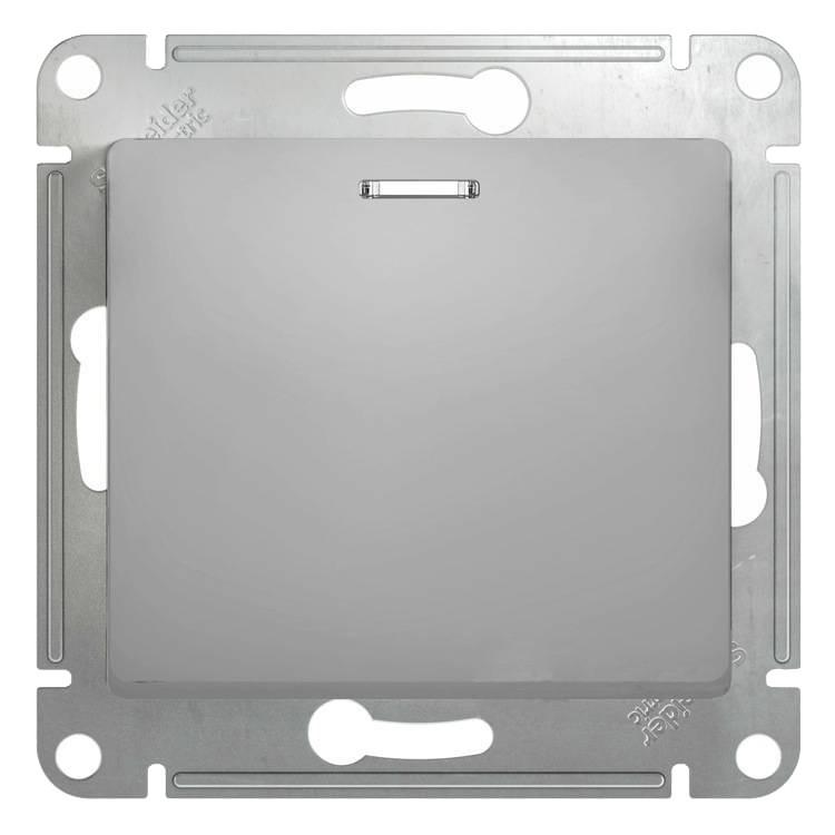 Выключатель встраиваемый Schneider Electric Glossa GSL000313 одноклавишный с индикатором алюминий фото
