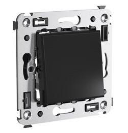 Выключатель встраиваемый DKC 4402103 Avanti одноклавишный Черный квадрат фото