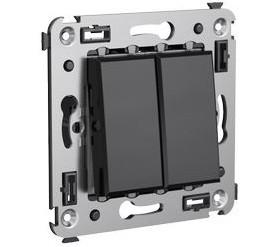Переключатель встраиваемый DKC 4402114 Avanti двухклавишный Черный квадрат фото