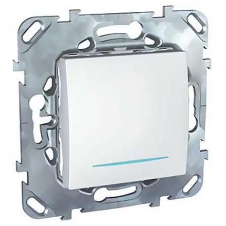 Выключатель встраиваемый Schneider Electric Unica MGU5.201.18NZD одноклавишный c индикатором белый фото