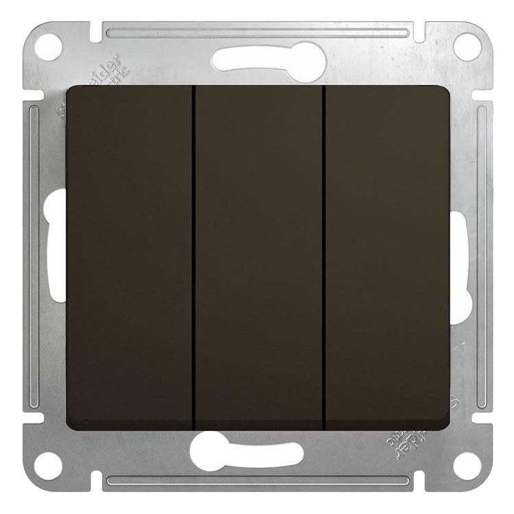 Выключатель встраиваемый Schneider Electric Glossa GSL000831 трехклавишный шоколад фото