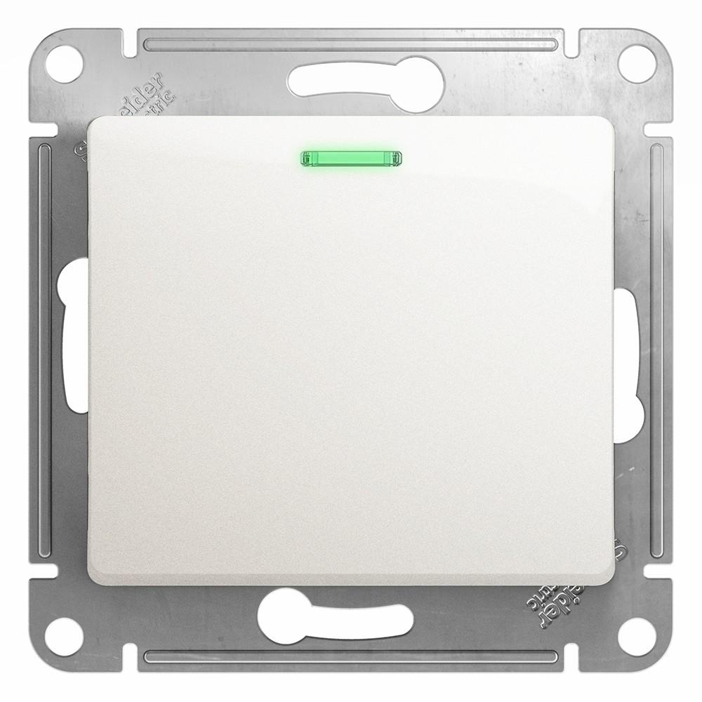 Выключатель встраиваемый Schneider Electric Glossa GSL000613 одноклавишный с индикатором перламутр фото