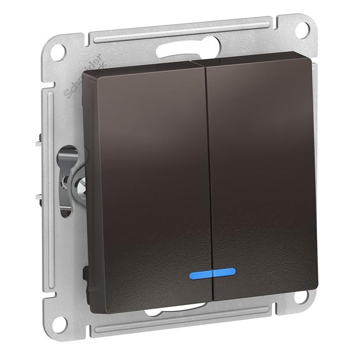Переключатель встраиваемый Schneider Electric AtlasDesign ATN000653 двухклавишный с индикатором мокко фото