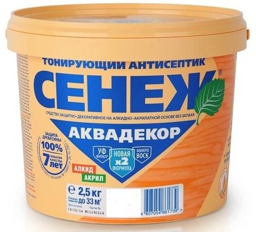 Сенеж Аквадекор 101 9 кг Антисептик тонирующий.