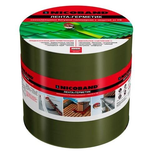 Лента герметизирующая Nicoband 10000х150 мм зеленая самоклеящаяся.
