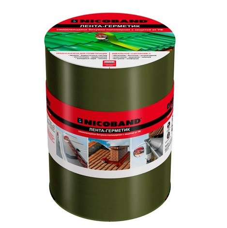 Лента герметизирующая Nicoband 10000х200 мм зеленая самоклеящаяся.