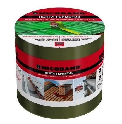 Лента герметизирующая Nicoband 3000х100 мм зеленая самоклеящаяся.