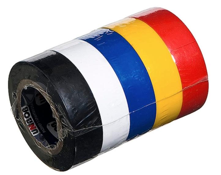 Изолента ПВХ Unibob 15 мм (комплект из 5 цветов), длина 10 м фото