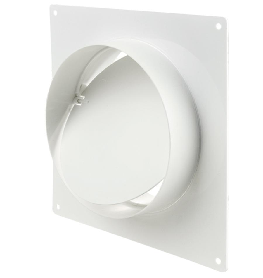 Соединитель для вентиляционных труб с обратным клапаном и монтажной пластиной Вентс Пластивент 1511, диаметр 100 мм фото