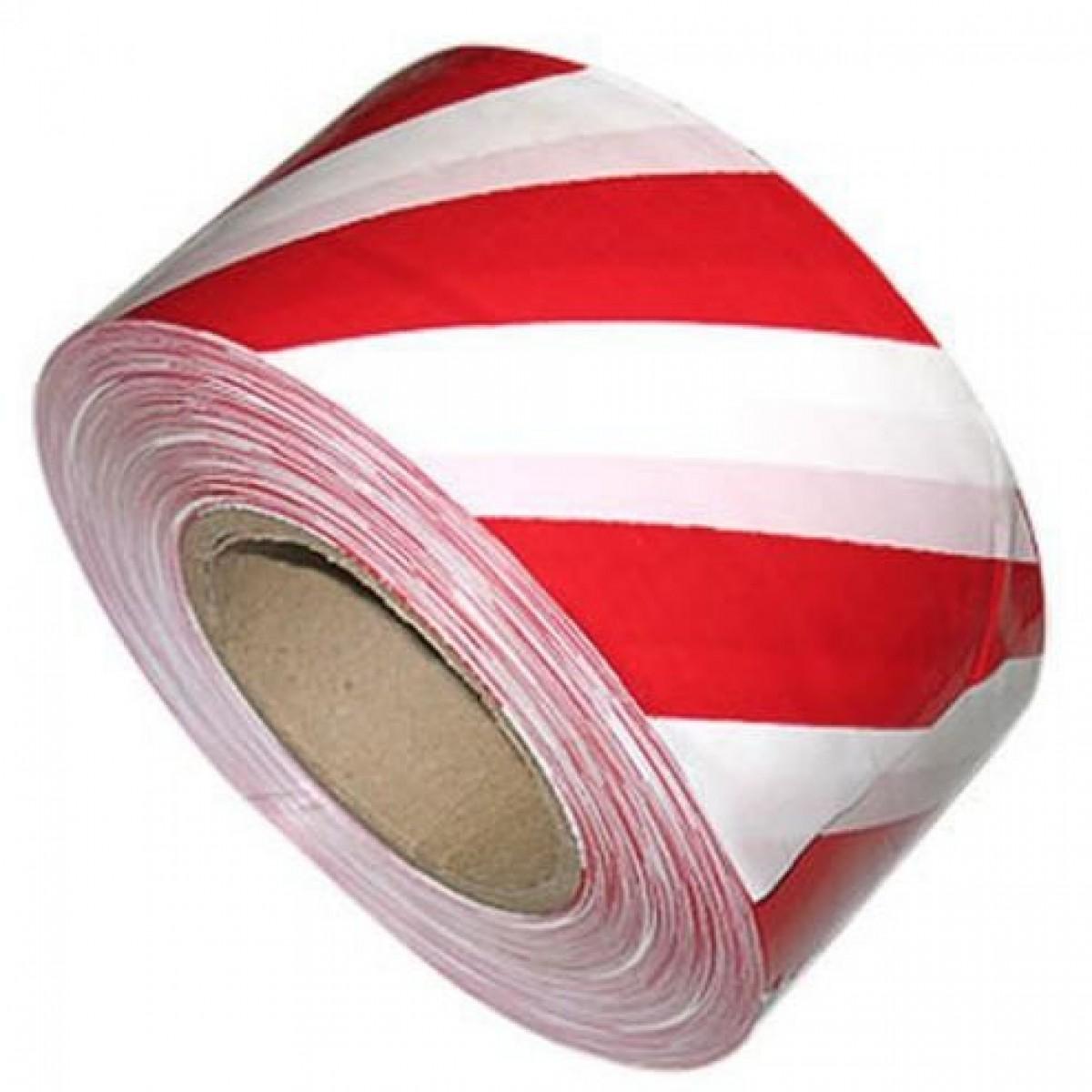 Лента сигнальная красно-белая, ширина 50 мм (150 м) фото