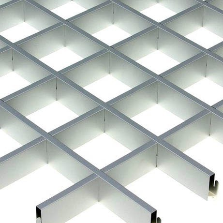 Потолок грильято Cesal CL Эконом (металлик), 86х86х37 мм фото
