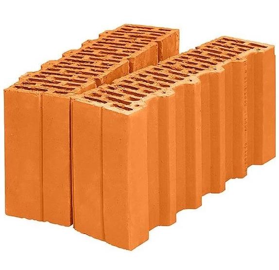 Блок керамический доборный M100 Wienerberger Porotherm 38 1/2 (оранжевый), 380х250х219 мм фото