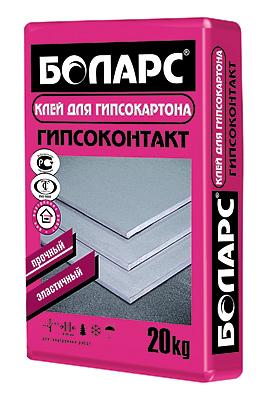 Клей гипсовый для монтажа ПГП ГКЛ ГВЛ Боларс Гипсоконтакт 20 кг.