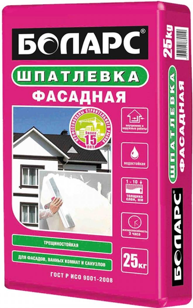 Боларс 25 кг, Шпатлевка цементная Фасадная (светло