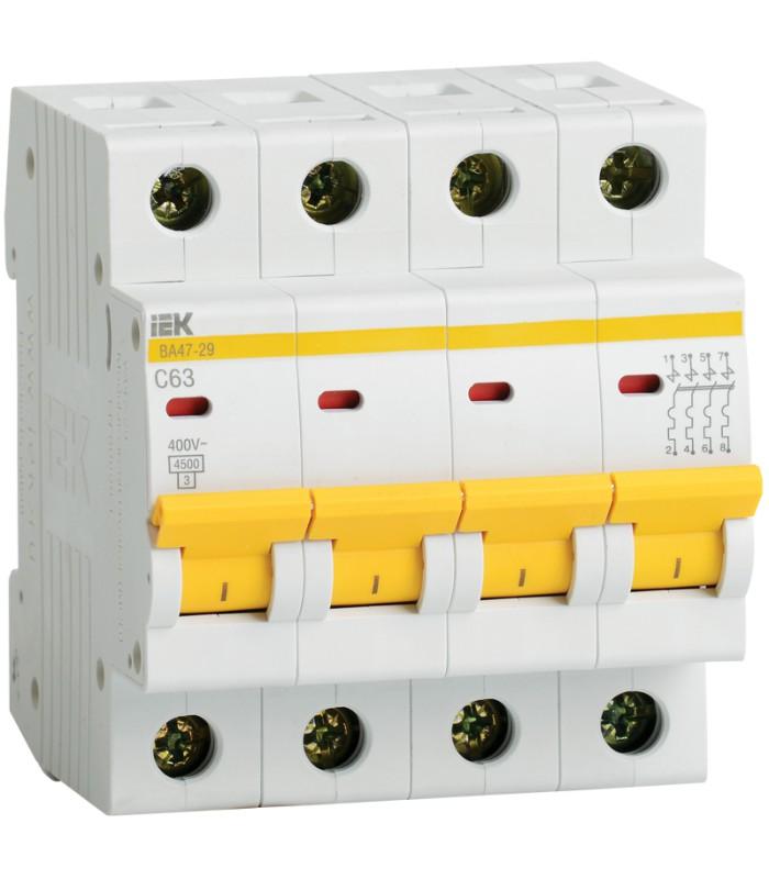 4P IEK ВА47-29, 10А, C, Выключатель автоматический фото