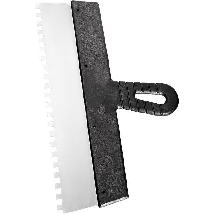 Шпатель из нержавеющей стали зубчатый Сибртех, 200 мм, зуб 10x10 мм, пластмассовая ручка фото