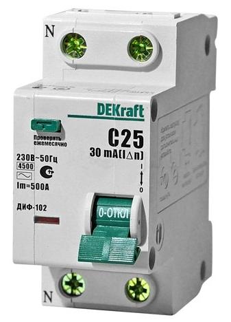 1P+N DEKraft ДИФ-102 30мА, номинальный ток 16А, Автомат дифференциальный фото
