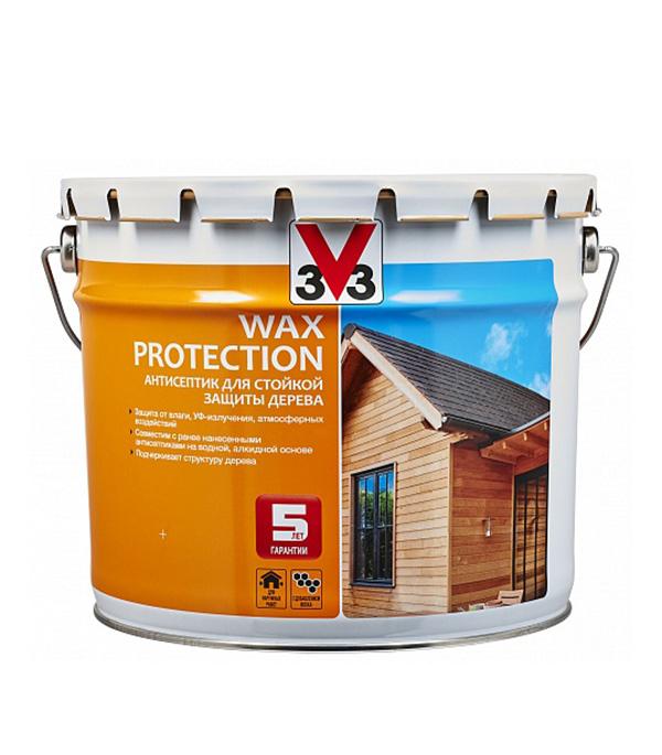 Антисептик V33 Wax Protection декоративный для дерева темный дуб 9 л фото