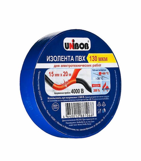 Изолента Unibob ПВХ синяя 15 мм, 20 м фото