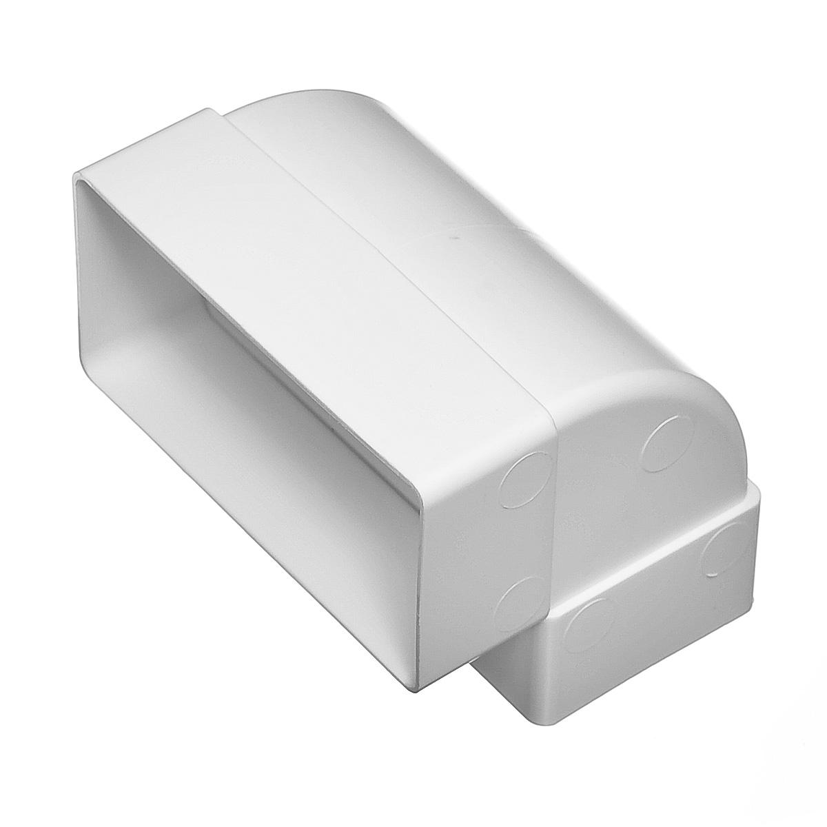 Отвод вертикальный для вентиляционных коробов 55х110 мм, угол 90° фото