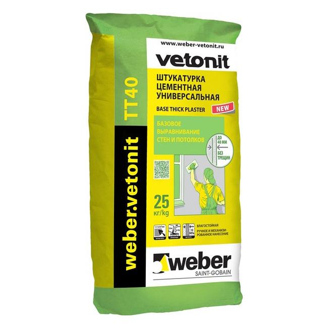 Weber.Vetonit TT40, 25 кг, Штукатурка цементная универсальная