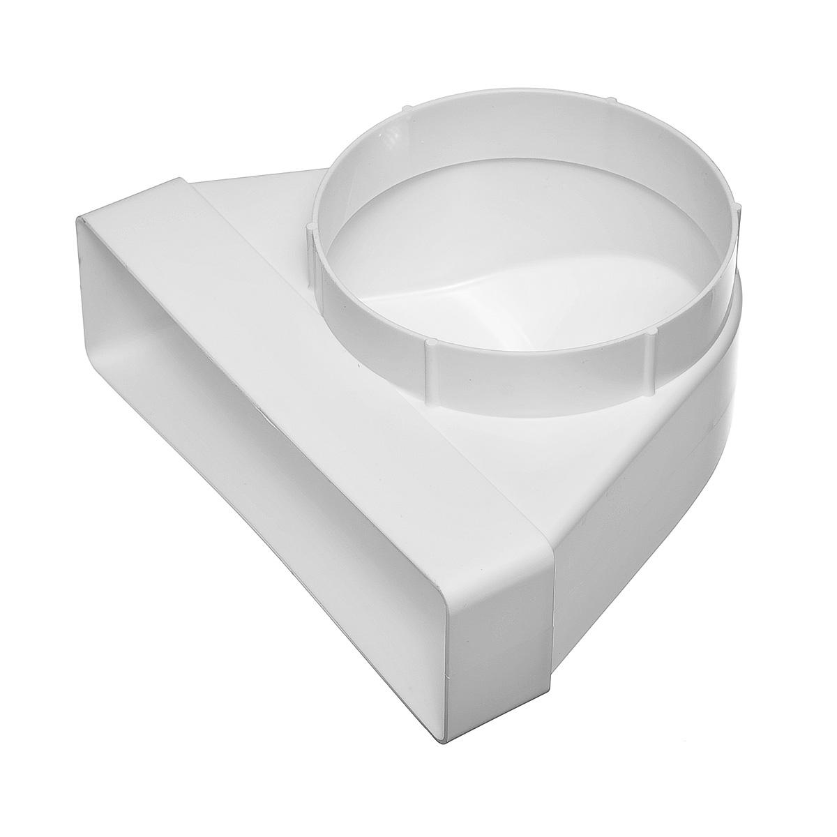 Переход угловой 90º пластиковый для вентиляционных коробов 60х204 мм с круглыми D125 мм фото