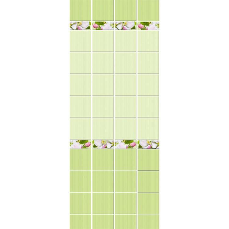 Стеновая панель ПВХ Кронапласт Unique Яблоневый цвет зелёный фоновая 2700х250 мм.