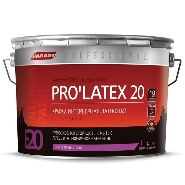 Краска латексная Parade Professional E20 Pro Latex20 интерьерная полуматовая основа С 9 л фото