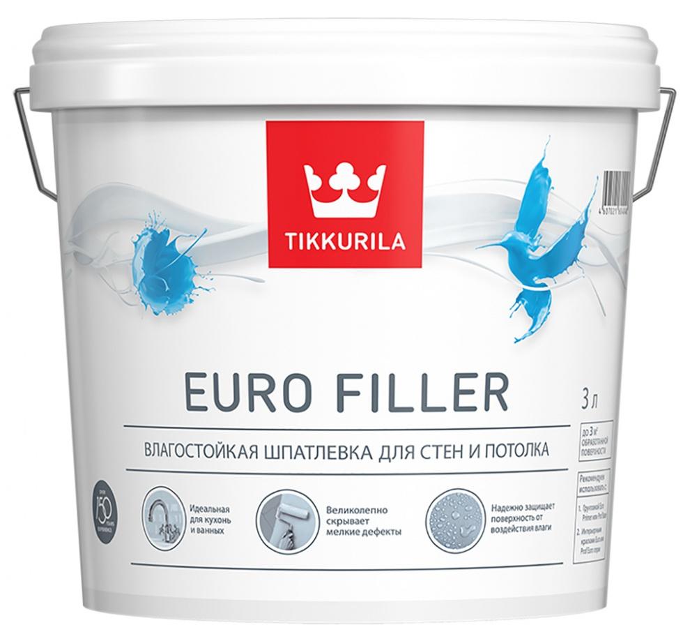 Tikkurila Euro Filler, 3 л, Шпатлевка готовая влагостойкая фото