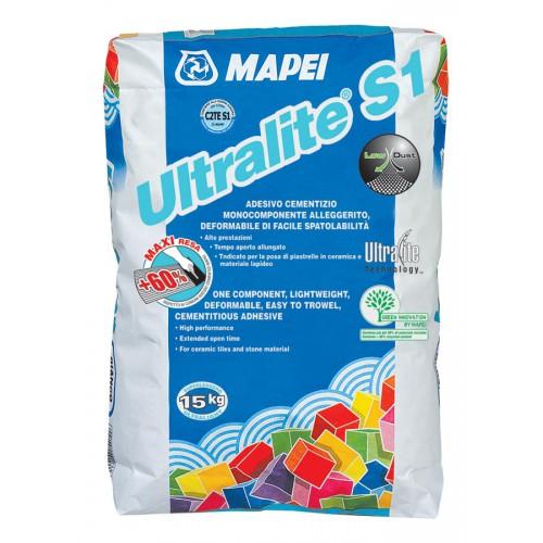 Mapei Ultralite S1, 15 кг, Клей для плитки белый фото
