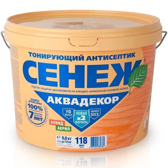 Сенеж Аквадекор 102, 9 кг, Антисептик тонирующий