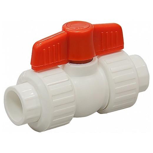 Кран шаровой PP-R СТМ Пласт CPBVA020 20 мм для кислот и холодной воды белый
