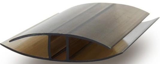 Профиль для поликарбоната соединительный неразъемный Кинпласт 10 мм (бронза), длина 6 м фото