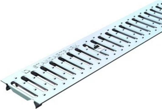 Решетка водоприемная штампованная нержавеющая сталь Standartpark Basic РВ-10.14.100-К, 1000х88х3 мм фото