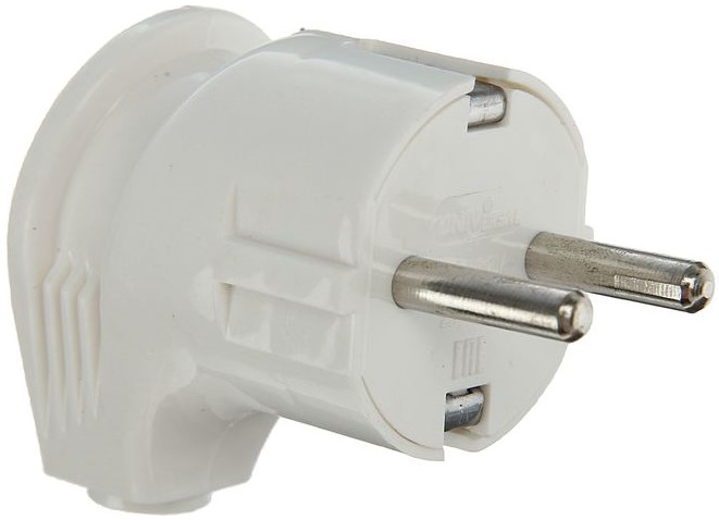 Вилка электрическая угловая с заземлением пластиковая Universal А105