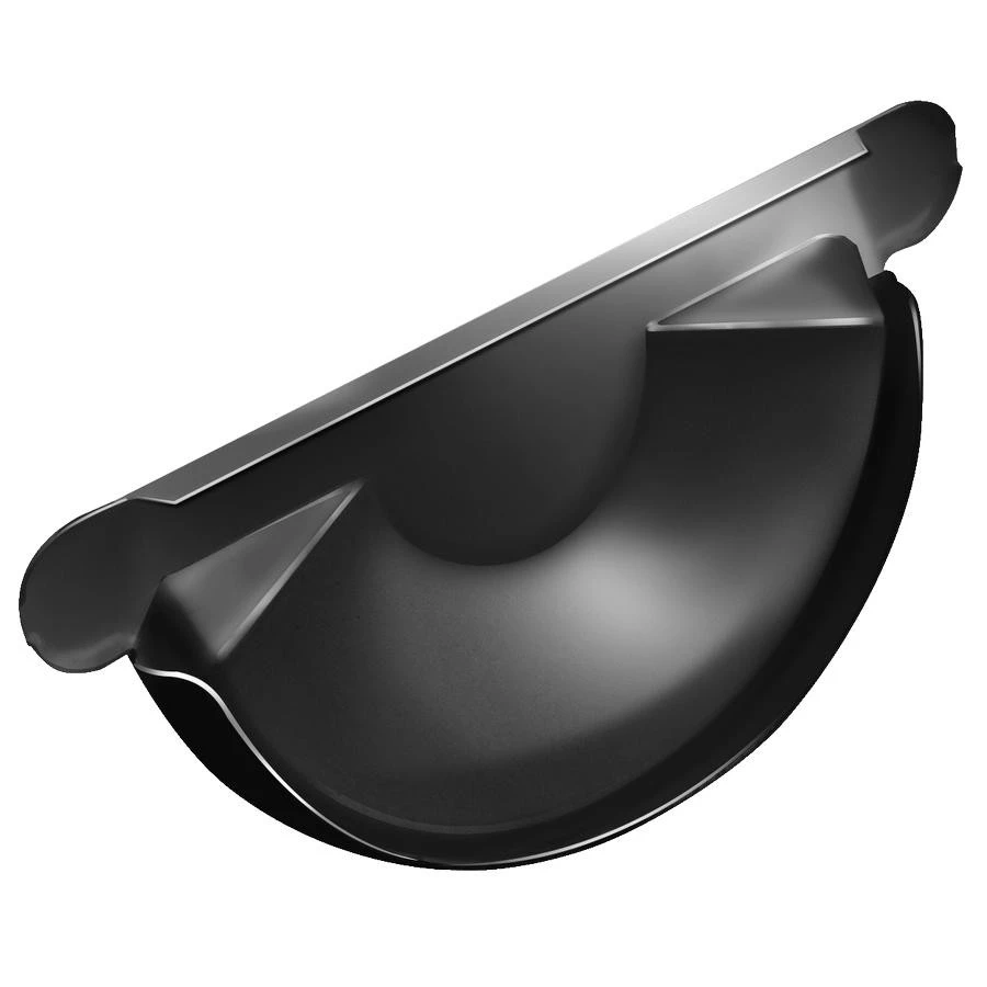 Grand Line RAL 9005 125/90 мм, Заглушка желоба оцинкованная черная фото