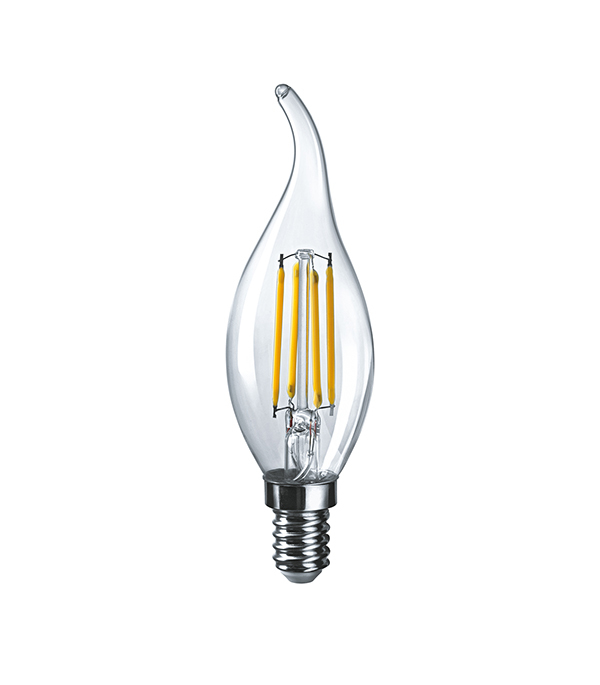 Лампа светодиодная Navigator 6 Вт Е14 филаментная свеча на ветру FC37 2700 К теплый свет 230 В прозрачная фото