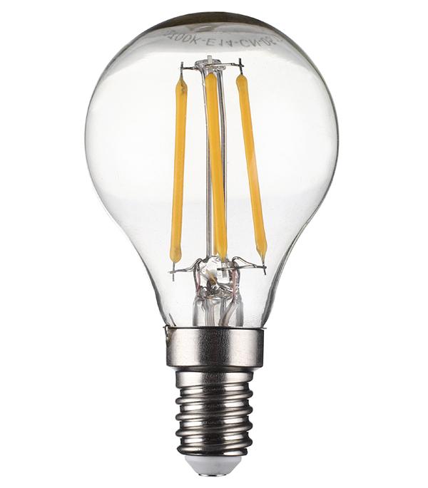 Лампа светодиодная 5 Вт Е14 филаментная шар G45 2700 К теплый свет 230 В фото