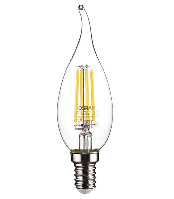 Лампа светодиодная Osram 5 Вт Е14 свеча на ветру FC37 4000 К дневной свет 230 В фото
