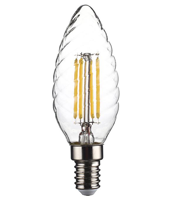 Лампа светодиодная REV 6 Вт Е14 филаментная свеча витая TC37 2700 К теплый свет 230 В матовая фото